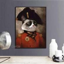 Животное холст картина кошка в военной форме Европейский стиль