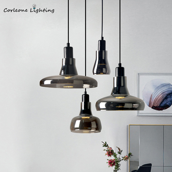 Nordic Glass Pendant Light Modern Designer Shadow Glass Hanging Lamp Bedroom Lamp Dining Room Living Room Pendant Lights AC GU10 nordic designer living room led hanging lights modern creative american chandelier glass ball restaurant iron pendant lamp