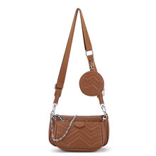 Women's Chain Shoulder Messenger Bag Horizontal Square PU Wave Pattern Solid Color Picture And Mother Bag Round Small Coin Purse