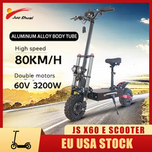 Electric Scooters Adults Big Wheel Powerful trotinette électrique with Seat 3200w 60v Dual Drive 80KM/H High Speed EU USA Stock