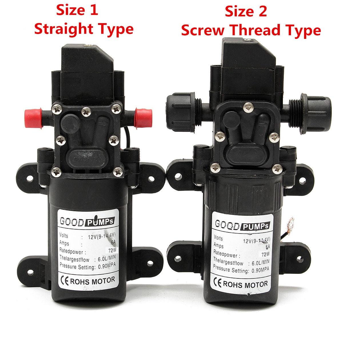 1Pcs12V 6A 72 Вт 6л/мин водяной насос стабильный мембранный Водяной насос высокого давления защита от давления водяной опрыскиватель для караван...