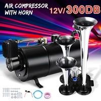12V 3Liter 150 PSI Car Truck Train Quad 4 Trumpet Air Horn Kit W/ Black 150 PSI Compressor System House