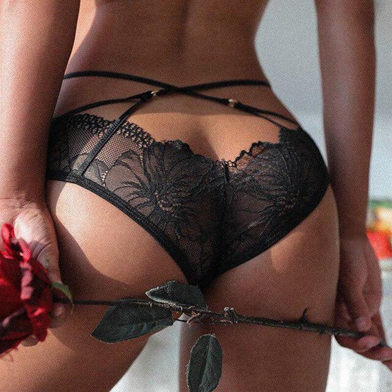 Сексуальное женское нижнее белье, кружевные ажурные трусики, перекрестные бандажные бесшовные трусики, нижнее белье с заниженной талией, с...