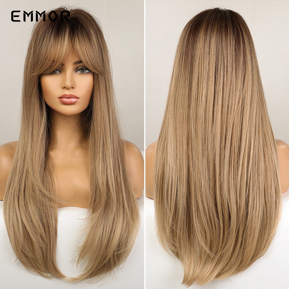 Emmor Synthetic Hair Wigs with Bangs Long Straight Wigs for Women Heat Resistant Ombre Black Brown Golden Blonde Cosplay Wigs
