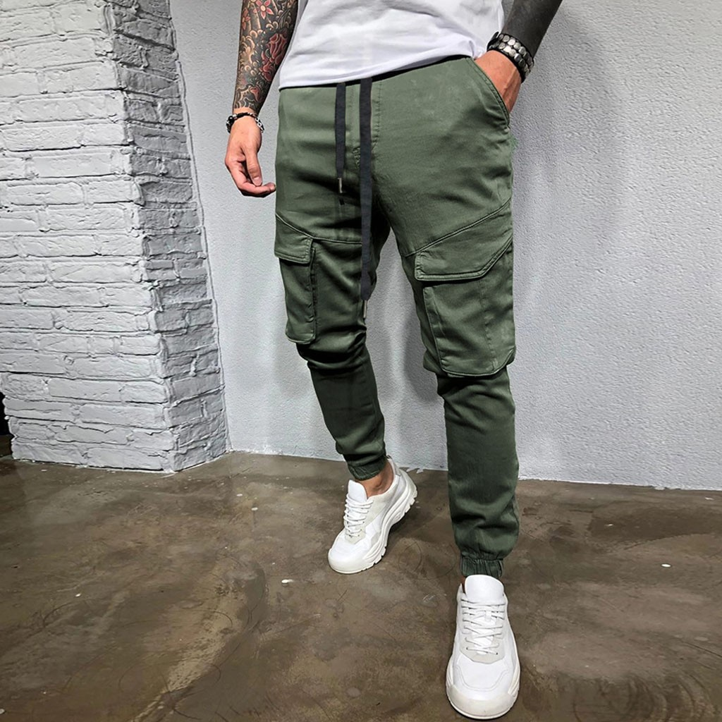 Men S Beam Pants Casual Loose Loose Solid Drawstring Trousers Male Overalls Simple Solid Sports Pants Men Pantalones Hombre Bibi Luxury Lastest Fashion Style
