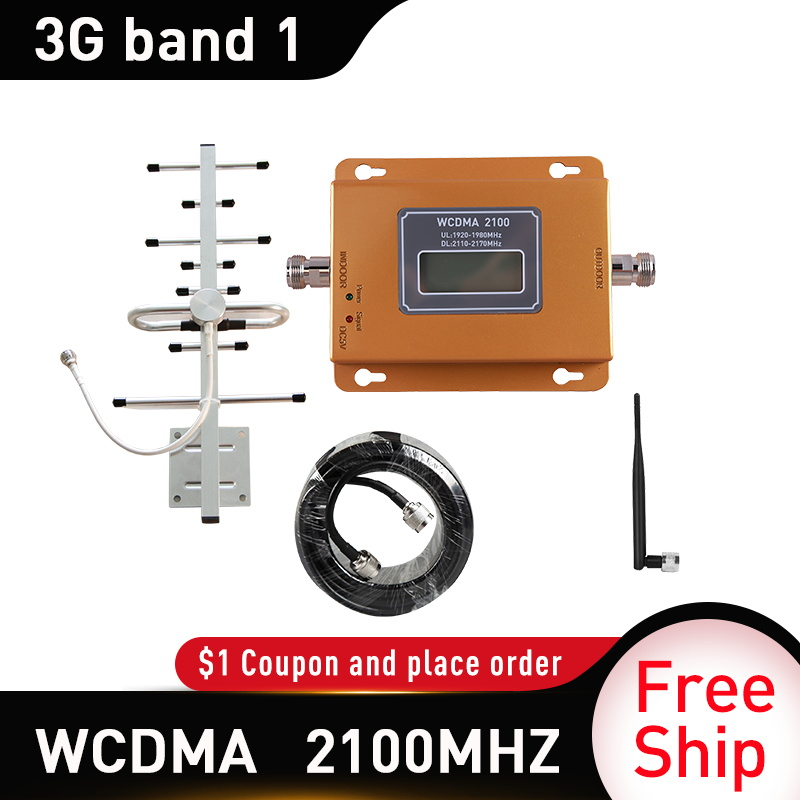 Band 1 3G WCDMA Signal Booster Gain 65dB 3G UMTS 2100 Mobile Cellular Signal Repeater Amplifier 3G Amplifi Antenna Whip Antenna