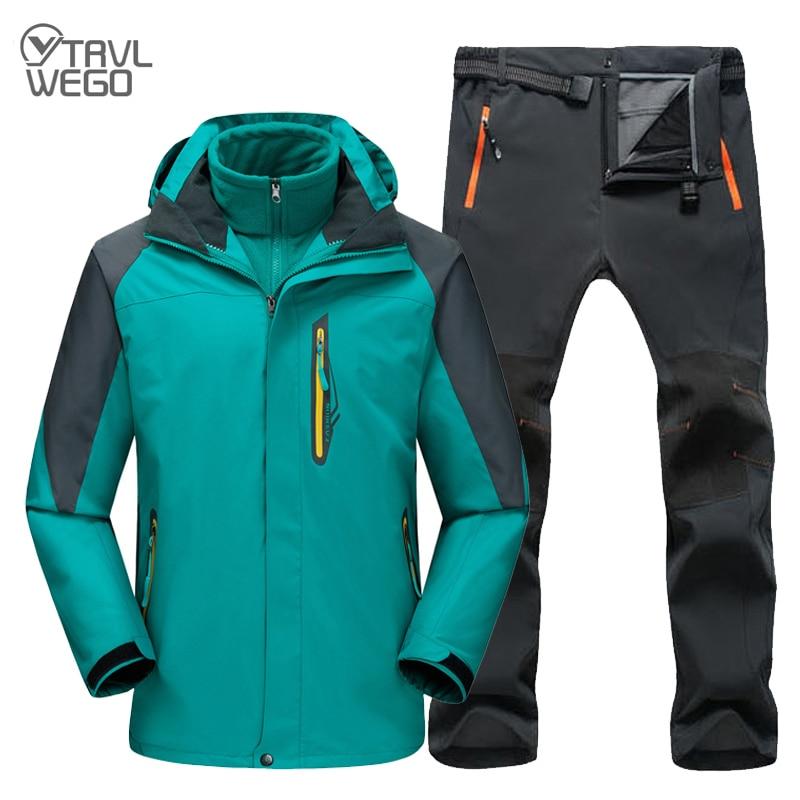 TRVLWEGO Мужская походная Лыжная куртка брюки 2 в 1 один комплект Открытый водонепроницаемый ветрозащитный с толстым флисом пальто и брюки