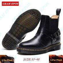 GRAM EPOS/унисекс; сезон осень-зима; кожаные ботильоны «Челси»; мужская обувь с мехом; теплые винтажные классические мужские повседневные ботинки в байкерском стиле