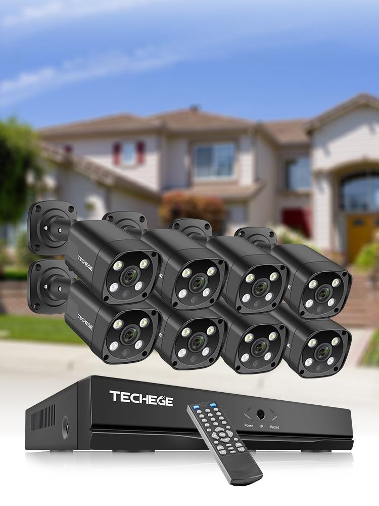 Techege Video-Surveillance-Set Ip-Camera Cctv-Security-System POE Waterproof H.265 Outdoor