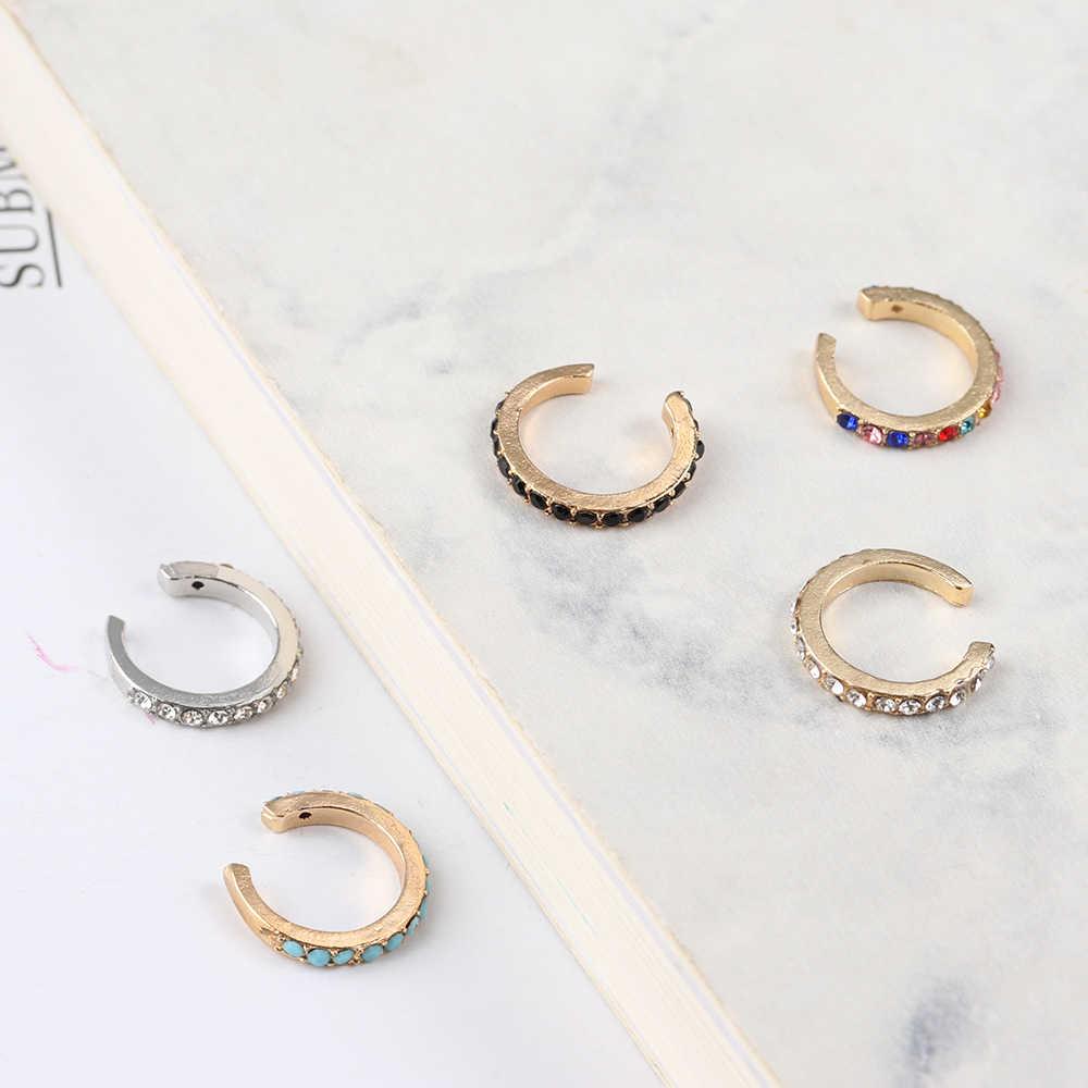 מינימליסטי CZ תכשיטי שרוול אוזן קליפ על עגילים לא פירסינג קוריאני זהב Earcuff לא פירסינג Cricle חישוק CZ אוזן תכשיטי שרוול