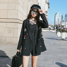 Stylish Loose Ladies Blazer Black Casual Suit Jacket Long Sleeve Simple Bayan Mont Korean High Street Women Blazer New MM60NXZ