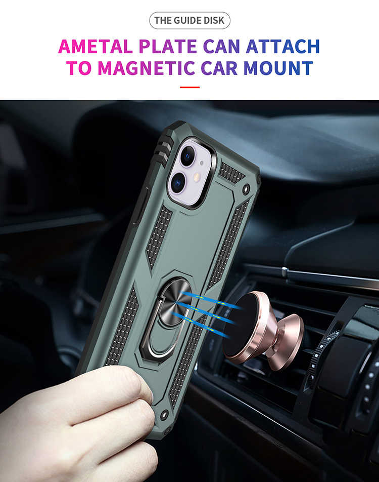 磁気リングスタンド鎧電話 iphone 11 プロマックス 6 6S 7 8 プラス保護カバーのための iphone XS 最大 XR × 裏カバーケース