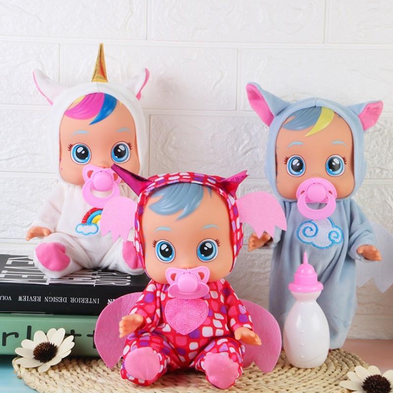 3d silicone unicórnio boneca renascer chorar um bebê de alta qualidade lágrimas mágicas boneca jogar casa brinquedos para crianças presente