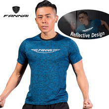 FANNA Ropa Deportiva Men T Shirts Sport Reflective Running t shirt male Gym Fitness Exercise Workout Short Sleeve Sportswear