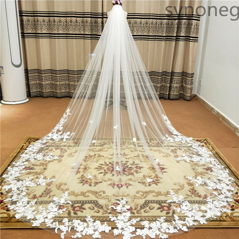 real-photo-3m-one-layer-wedding-veil-with-comb-white-lace-edge-bridal-veils-ivory-appliqued-cathedral-wedding-veil