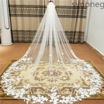 Real Photo 3m One Layer Wedding Veil With Comb White Lace Edge Bridal Veils Ivory Appliqued Cathedral