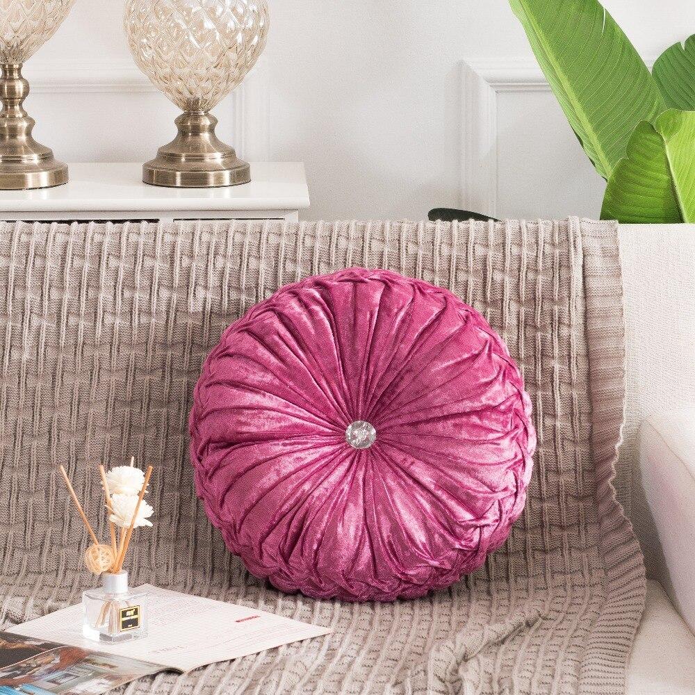 H2b3427ed87c04433ba75798d09d27619J European Pastoral Style Pumpkin Round Seat Cushion/Back Cushion or as Sofa pillow Velvet Fabric 35x35cm 9 Colors