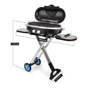 Image 3 - Integrated Portable Trolley BBQ Grill Outdoor Camping Barbecue Oven Gas Stove
