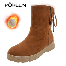 PUHLLM Ankle Boots For Women's Shoes 34-48 Large Size Female Snow outdoor rubber plus Woman Platforms flat 2019 F71