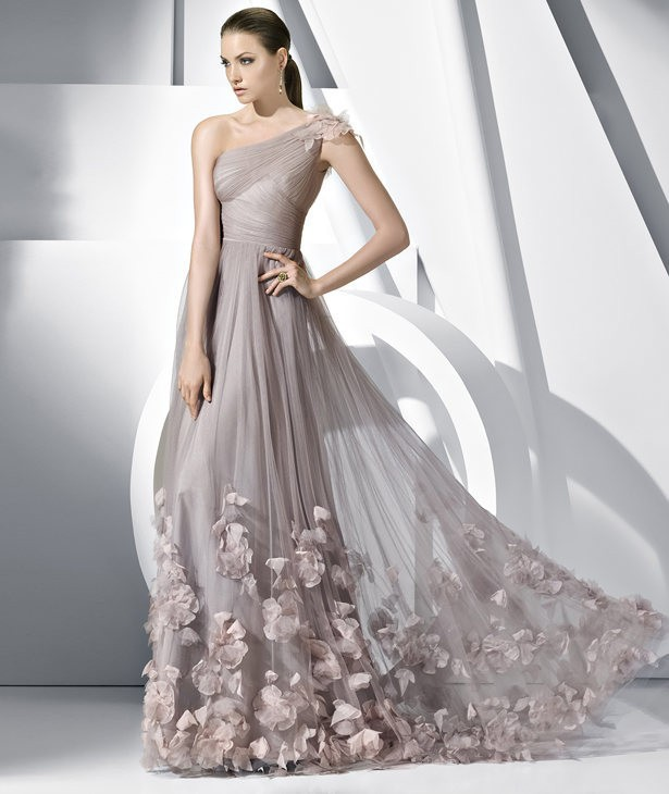 Hot Sale Elegant One Shoulder Gray Tulle Long Prom Dress Party Evening Dress Formal Gowns 2015 Special Occasion Dress