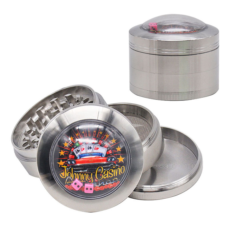 Diameter 63mm Zinc Alloy Herb Grinder With Game Dice Pattern Four Layers Metal Cigarette Tobacco Grinder Silver Spice Crusher