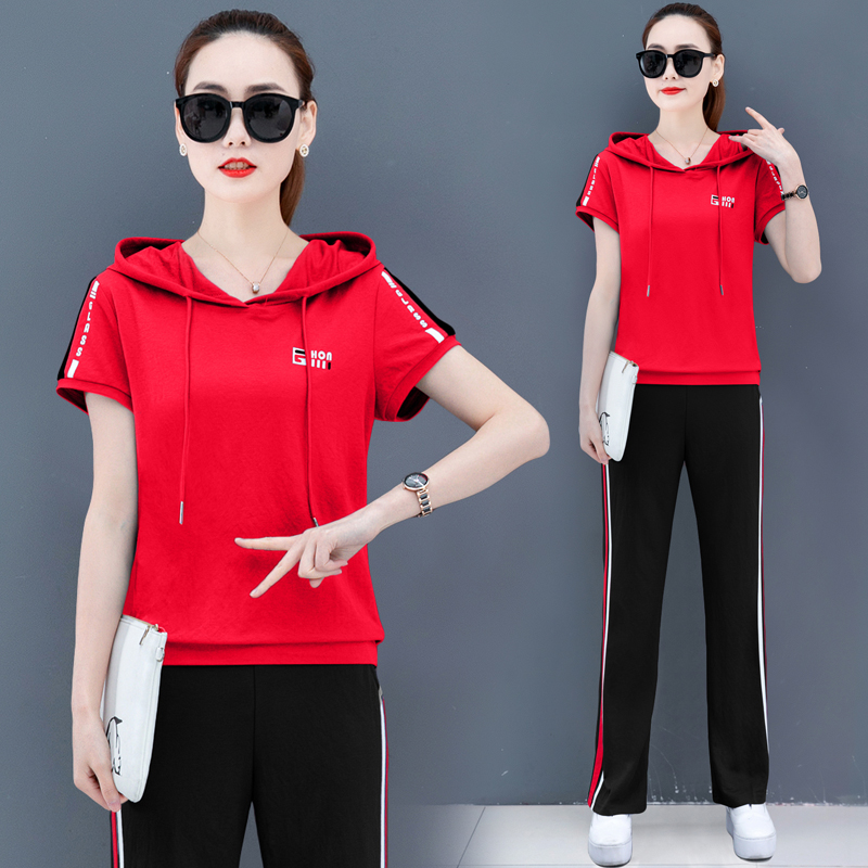 Large Size Short Sleeve Hooded Sweater Two - Piece Fashion Sportswear Suit 2020 New Korean Fashion Loose 's Summer Women YICIYA