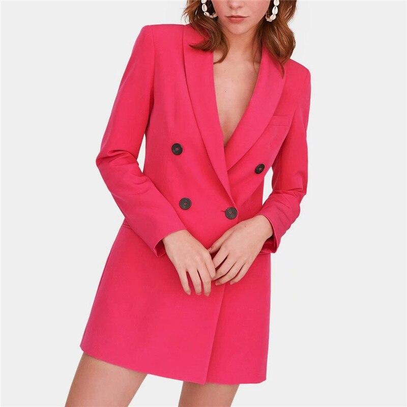 Элегантный Новый трендовый красный двубортный зубчатый женский пиджак 2019 осенний модный топ Женская верхняя одежда feminino кардиган-пончо