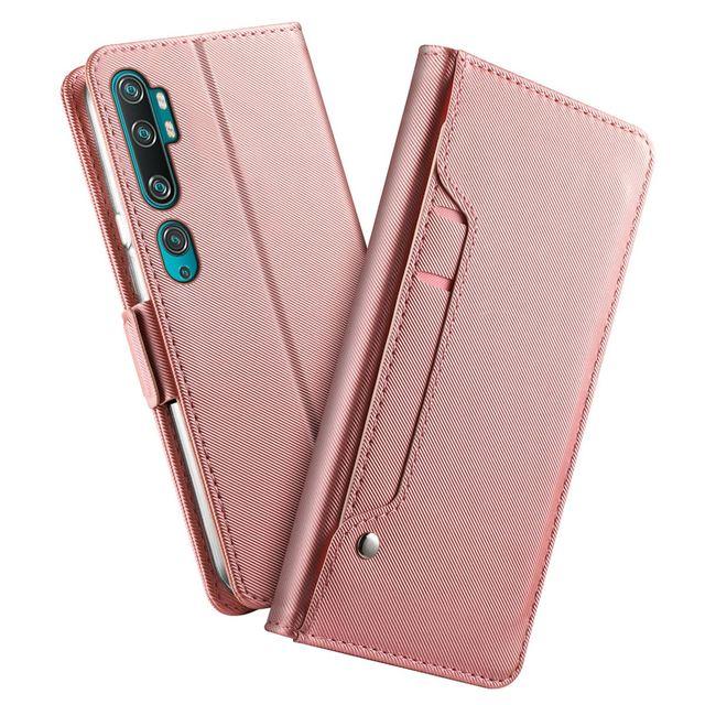 Dành Cho Xiaomi Mi Note 10 Mi 10 Pro Ốp Lưng Da Cao Cấp Kiểu Ví Bao Da Có Khe Cắm Thẻ Và Gương Cho xiaomi Mi CC9 Pro Giáp