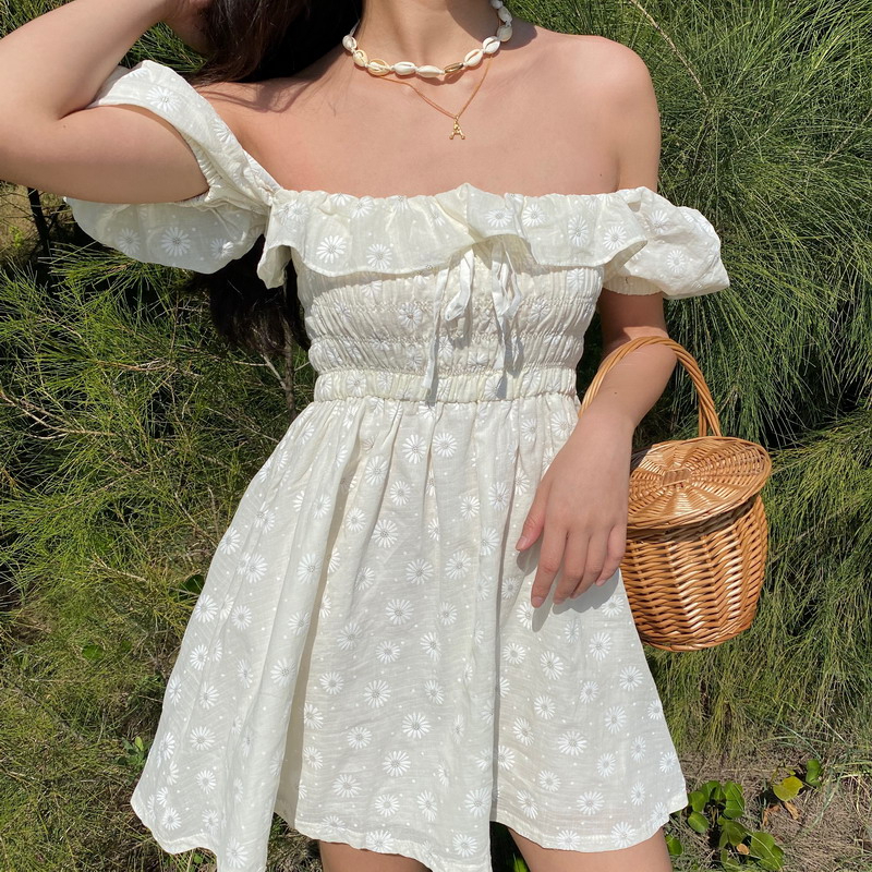 Sexy Ruffles Women Puffed Sleeves Dress Square Neck Bow Slim Waist Floral Dresses New 2020 Summer Girls Princess Pleated Dresses 4