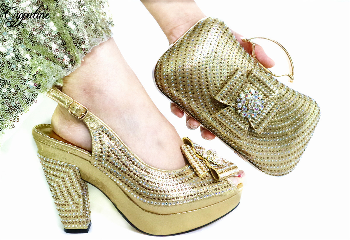 Nice Gold Wedding/Party Set African High Heel Sandal Shoes And Purse Bag Set With Rhinestones GL1912-6  Heel Height 10.5CM