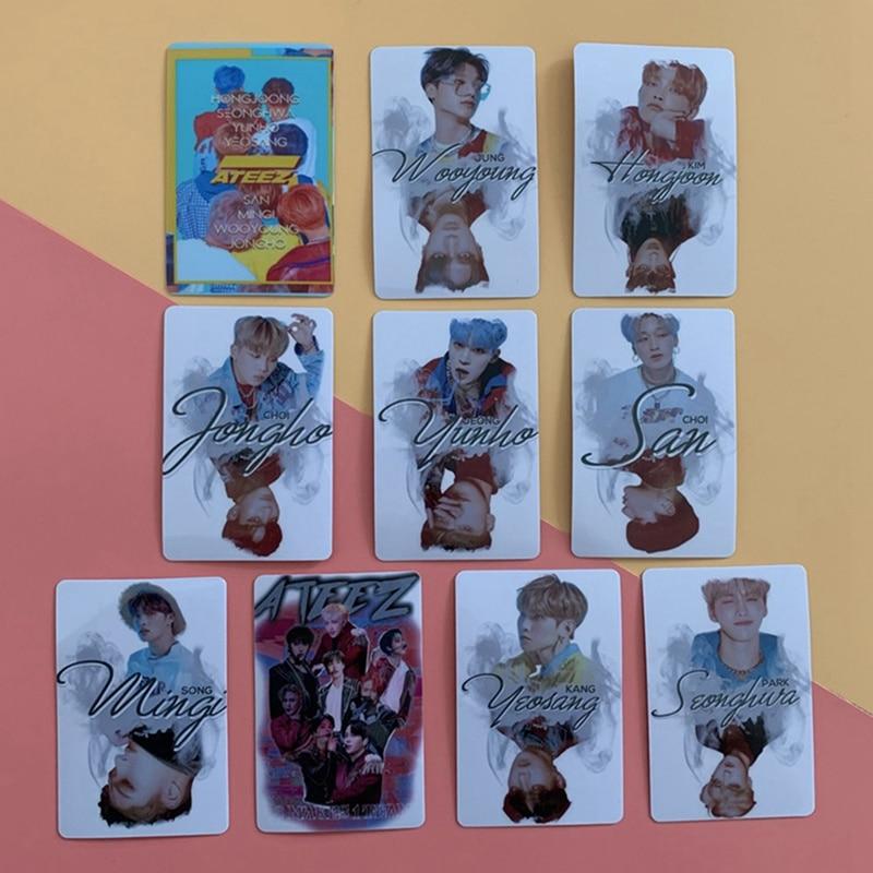 10Pcs/Set Kpop ATEEZ Photocard Sticker Album Photo Card Lomo Crystal Cards Sticker New Arrival
