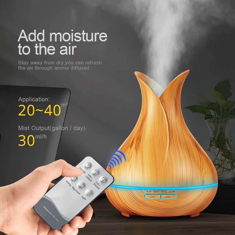Ultrasonik hava nemlendirici 400ml aromalı uçucu yağ difüzör ahşap tahıl 7 renk değiştiren LED ışıkları ofis ev için