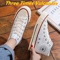 Кеды женские с вулканизированной подошвой, повседневные холщовые кроссовки, спортивная обувь для девочек, высокие берцы три раза, прогулоч...