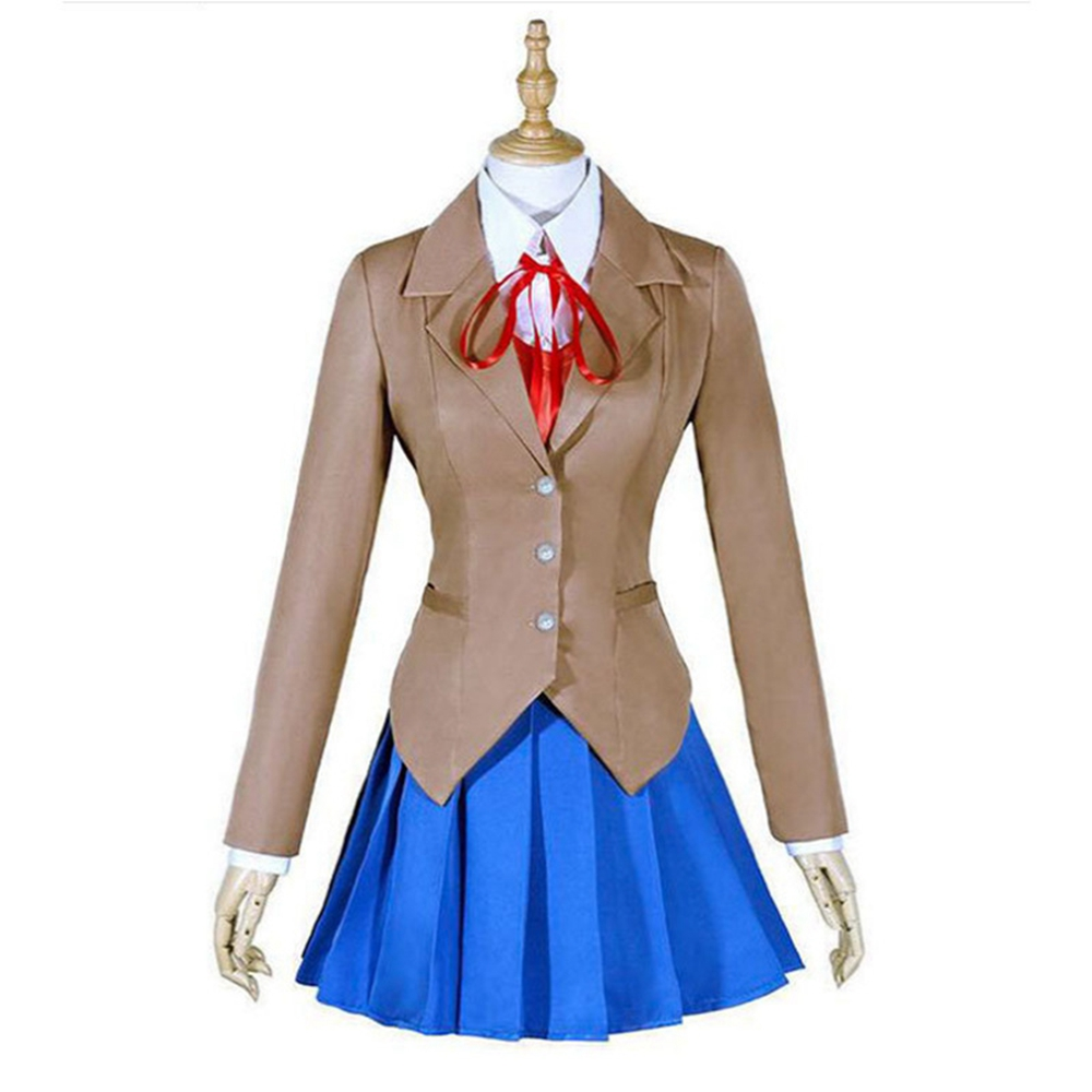 Doki Doki Literature Club Monika Cosplay Sayori Yuri Natsuki Costume School Uniform Suit Girl Women (Coat+Dress+Shirt+Vest+Tie)