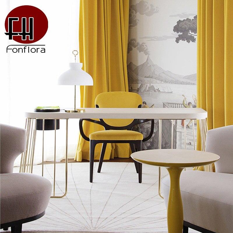 Желтые затемненные шторы для спальни роскошные толстые хлопковые бархатные экранные занавески Instagram стиль оконные шторы занавеси панель Занавеска      АлиЭкспресс