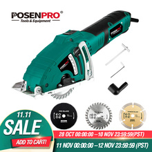 POSENPRO Electric Mini Circular Saw 700W Hand Tool Cutting Wood Metal Saw Parallel Guide Attachment Tools 3pcs Blades