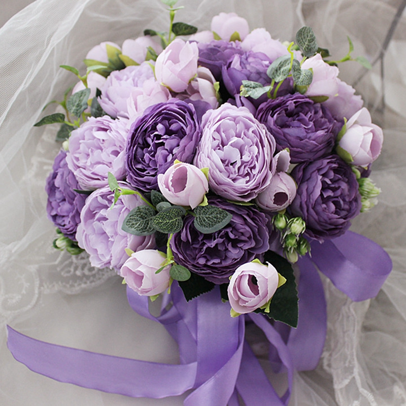 Bouquet Sposa Rose E Peonie.Purple Peony Bridal Bouquets Wedding Flowers Artificial Wedding