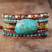 Punk Armbanden Vrouwen Wrap Armbanden Natuurlijke Stenen 5 Lagen Lederen Manchet Armband Femme Armbanden Geschenken Dropship