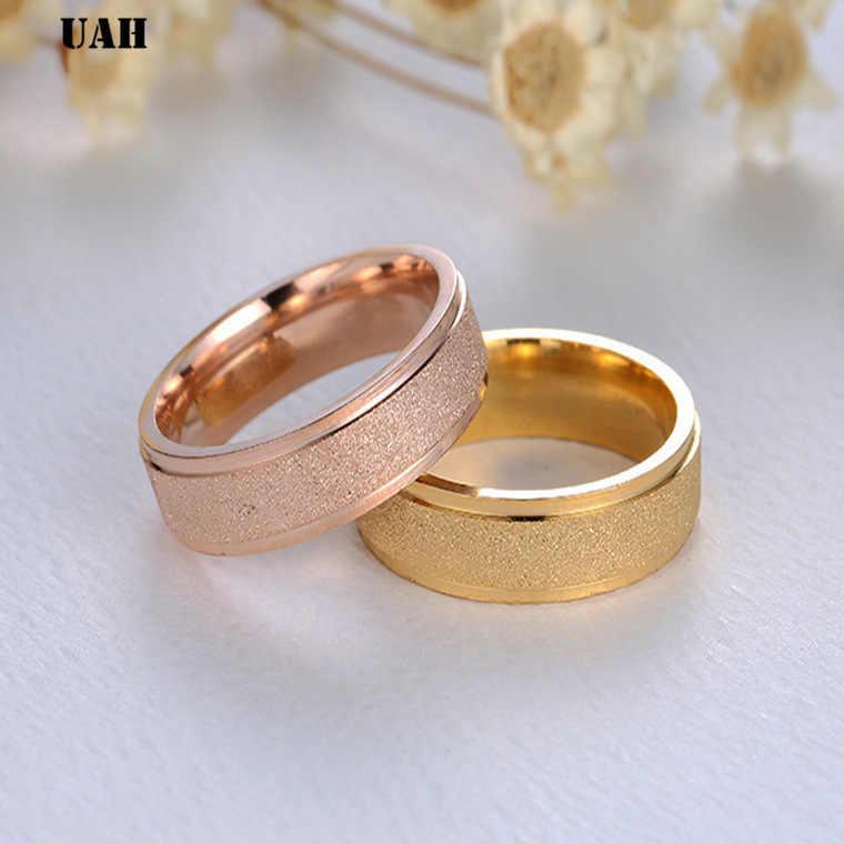 UAH Moda Matagal Simples 6 mm de Largura das Mulheres Anéis de Aço Inoxidável Cor de Rosa de Ouro Dedo Jóias Presente Para Menina