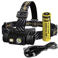 SALE NITECORE HC65 헤드 램프 CREE XM L2 U2 1000Lumes 충전식 헤드 라이트 방수 캠핑 여행 18650 배터리 무료 배송
