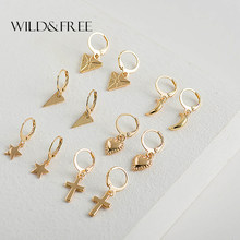 Wild&Free New Tiny Hoop Earrings For Women Girl Gold Cartilage Hoop Earrings jewelry Heart Cross Star Triangle Charm Earring(China)