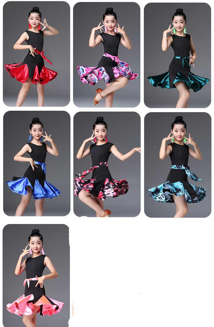 ดอกไม้ Ruffle บอลรูม Latin Dance สวมชุดการแข่งขันสาวเด็ก Salsa Tango Cha Cha ประสิทธิภาพกระโปรง