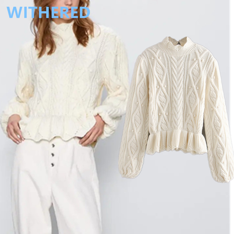 Withered England High Street Vintage Twisted Knitted Turtleneck White Sweaters Women Pull Femme Sweaters Women Pullovers Tops