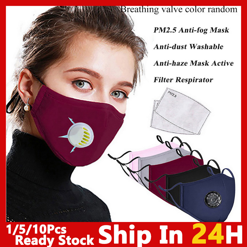 PM2.5 Mouth Mask Face  Mask Reusable Mask With Breathing Valve Masks Washable Mouth Face Masks Filter Pad