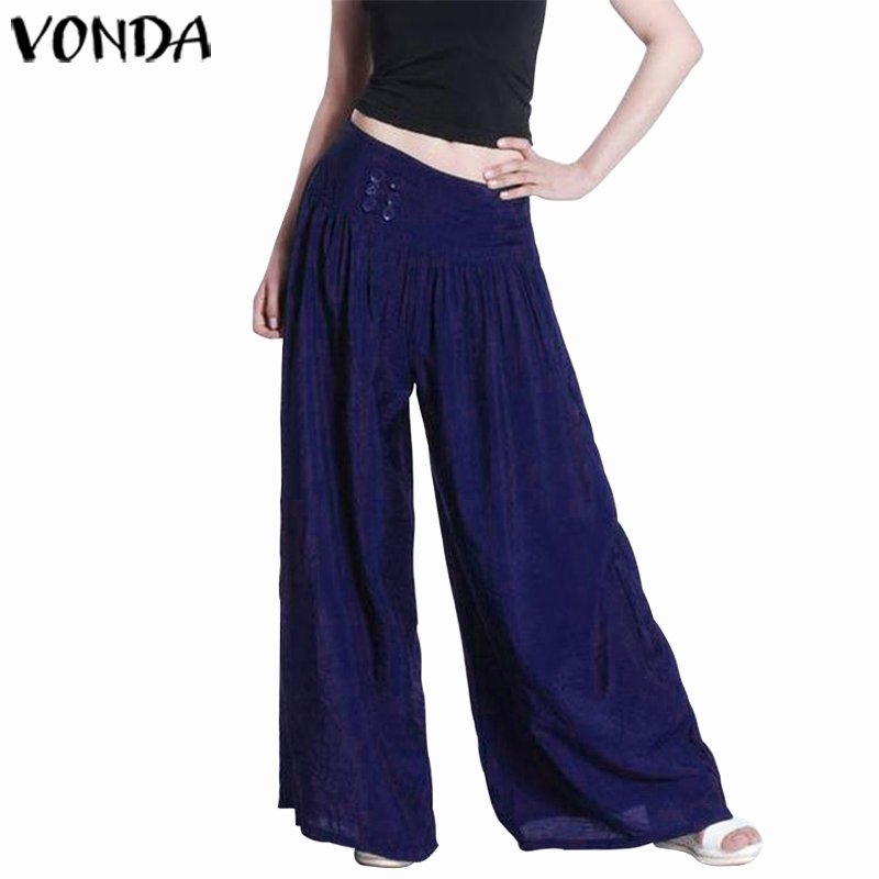 VONDA Women   Wide     Leg     Pants   2019 Spring Autumn Female Casual Loose Plus Size Elastic Waist Trousers Elegant Solid Pantalon S-5XL