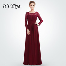 Its Yiiya Evening Dress O-neck Long Sleeve Robe De Soiree Backless Women Party Dresses Plus Size Formal Gowns C538