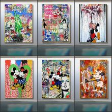 Graffiti Art Disney Mickey and Minnie Canvas Painting Street Love life Pop Art Poster and Print Wall Art Picture for Living Room