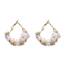 Handmade Fresh Water Pearl Hoop Earrings for Women Wedding Party Stone Earrings Jewelry(China)