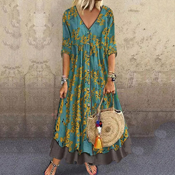 Plus Size Summer 2020 Long Dress Women V-Neck Floral Printed 3/4 Sleeve Maxi Swing Dress Casual Loose Dress stylish plunging neck 3 4 sleeve wave printed maxi dress for women
