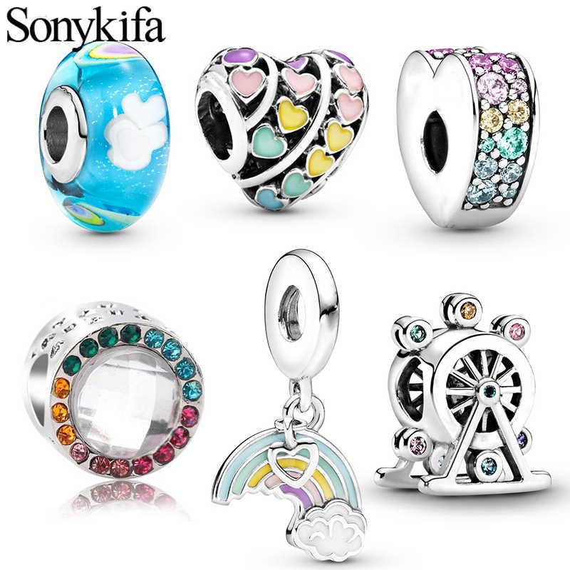 Sonykifa colorido Arco Iris Tema de joyería colgante con cuentas regalo de personalidad que hace un ajuste Original Pandora pulsera collar fabricante
